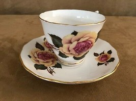 Royal Vale vintage china tea cup & saucer porcelain coffee rose yellow w... - $28.50