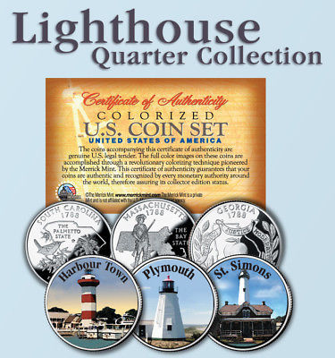 Historic American * LIGHTHOUSES * Colorized US Statehood Quarters 3-Coin Set #6