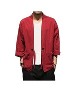 [#3]Mens Standing Collar Cotton and Linen Chinese Half Sleeve Kungfu Clo... - $30.71