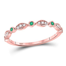 10kt Rose Gold Round Emerald Diamond Marquise Dot Stackable Band Ring 1/... - £122.17 GBP