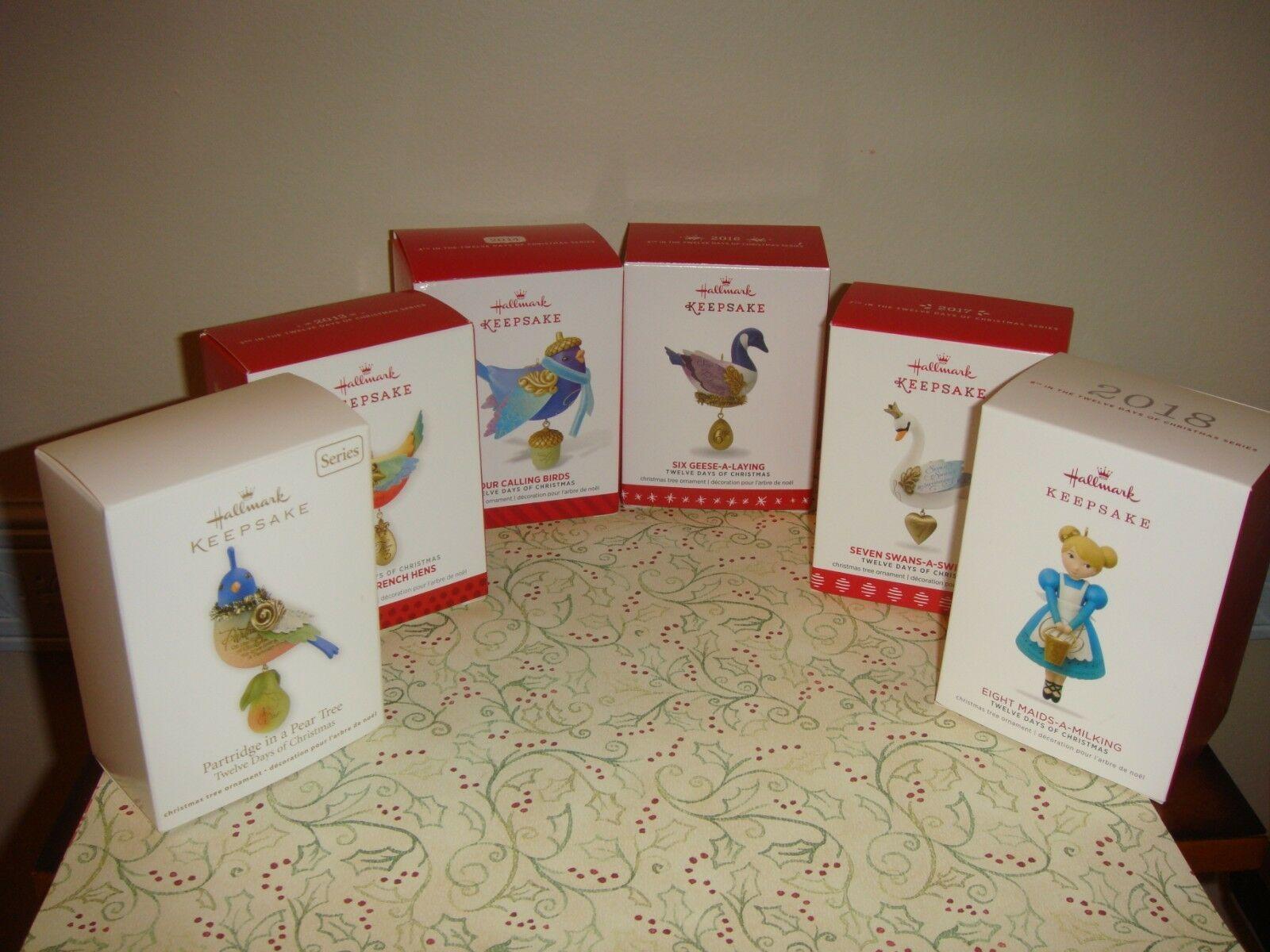 Hallmark Twelve Days Of Christmas Series Lot Of 6 #1, 3, 4, 6, 7, 8 Ornament