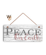 "Christmas Sign, 6""x14"" Sign, Peace on Earth, Rustic Holiday Decor, Holid... - $17.33"