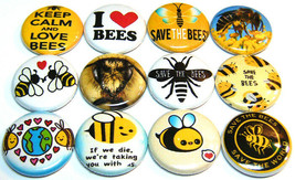 "12 SAVE THE BEES - Pinbacks 1"" Pins Badges One In Buttons Love Bees Hone... - $7.99"