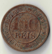 1889 BRAZIL 100 REIS COPPER NICKEL COIN  #74131/1 DBW - $4.95