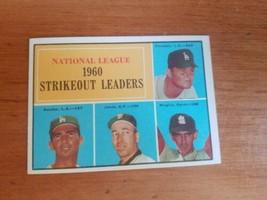 1961 Topps #49 Drysdale/Koufax/Broglio/Jones NL Strikeout Leaders Nice Card! - $9.90