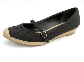 Mary Jane Shoes Bass Black Canvas Women's 10M Heather Style Very Good Co... - $22.05