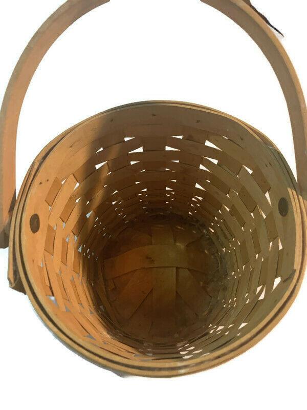"Longaberger 5""x7"" Wall Basket 1998 Handwoven dated Handle image 3"