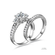 1ct Round Cut Three Stone 925 Sterling Silver Cubic Zirconia Engagement Ring Set - $53.84