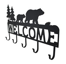 Zeckos Rustic Black Bear Decorative Welcome Wall Hook image 2
