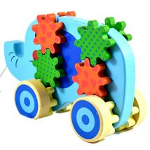 Applesauce Elephant Baby Wooden Pull Toy w Gears for Children Ages 18+ Month image 3
