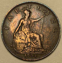 1934 GREAT BRITAIN 1 ONE FARTHING TONED DEEP COLOR HIGH GRADE (DR) - $24.74