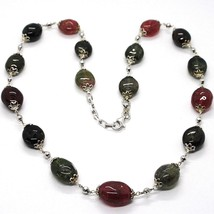 Necklace Silver 925, Tourmaline Ovals, Green and Red, Spheres Faceted - $210.24