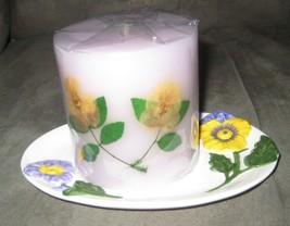 PANSY Candle Gift Set Holder Dish Purple Yellow Pansies Avon NEW - $17.81