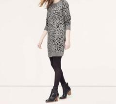 Ann Taylor LOFT Wool Blend Gray Jacquard Animal Print Sweater Dress Sz P... - $24.74