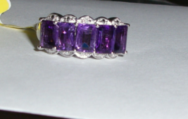 PURPLE AMETHYST OCTAGON & DIAMOND BAND RING, PLATINUM / SILVER, SIZE 6, 2.76(TCW - $29.99
