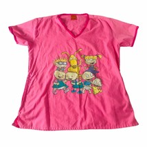Nickelodeon Rugrats Nursing Scrub Top Large Pink 90s Cartoon Uniform Shirt - $13.99