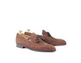 Handmade Men's Slip Ons Suede Loafer Shoes image 5