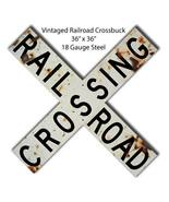 Vintage Railroad Cross buck Metal Sign 36x36 - $118.80