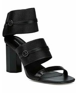 NEW DONALD PLINER 7.5 shoes sandals black leather elastic heels designer... - $96.03