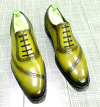 Men's Yellow Oxford Derby Whole Cut Laceup Leather Handmade Formal Dress... - $129.99+