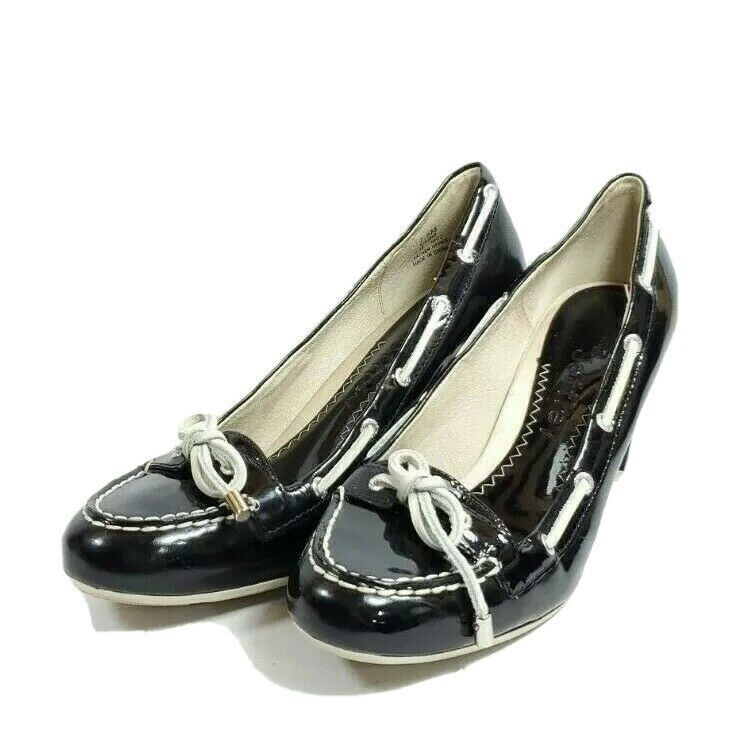 Sperry Top-Sider Heeled Boat Shoes Women's Sz 7.5 Black Patent Leather (tu35ep) - $29.97