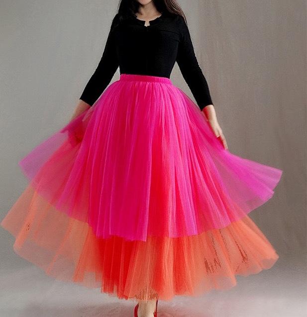Hot pink orange layer tutu 2