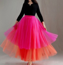 Women Tiered Tutu Skirt Hot Pink Red Tiered Tulle Skirt Party Dance Skir... - $68.99