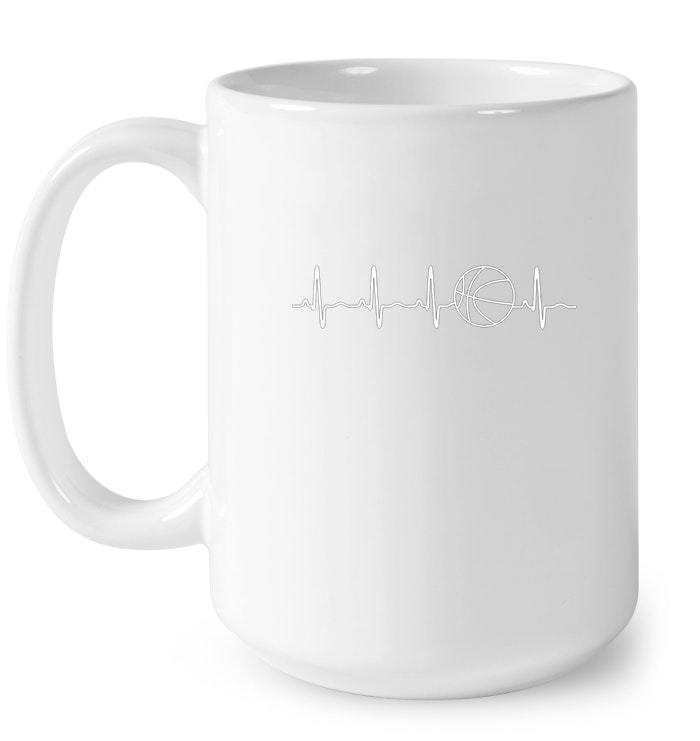 Funny Basketball Heartbeat Gift Tee for B ball Fans Gift Coffee Mug