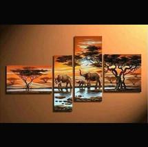 Elephant family paint / acrylic paint / pattern paint/ African paint - $120.00