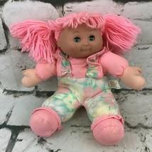 Vintage 90's Plush Doll Vinyl Face Pink Yarn Hair Closing Eyes Clean Toys - $19.79