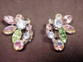 Vintage Made in Austria Pastel Rhinestone Clip Earrings with Aurora Bore... - $19.31