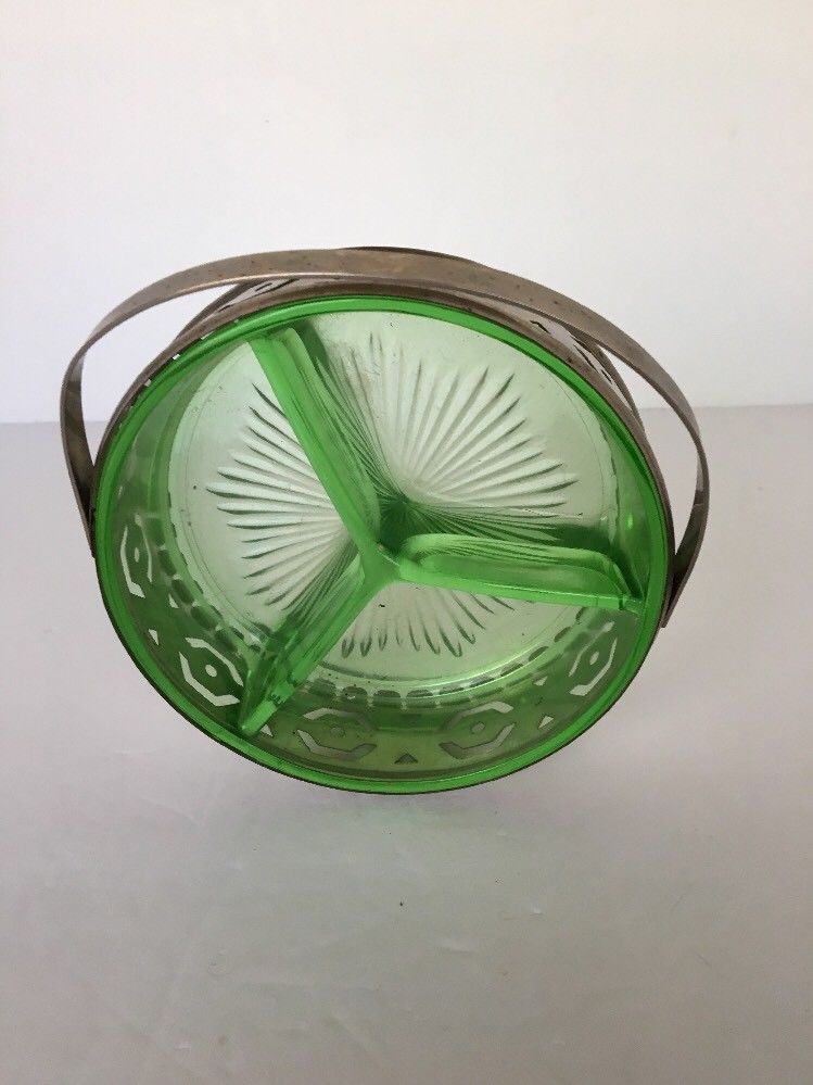 "Candy Dish Condiments Trinkets Metal Caddy Vaseline Green Depression Glass 5""d"