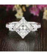 2.75Ct Princess Cut White Lab Three Diamond  Engagement Ring 925 Sterlin... - $80.19