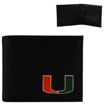 Miami Hurricanes Mens Black Leather Bi-fold Wallet - $19.00