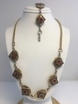 Vintage Ceramic Necklace Bracelet Set Goldtone - $31.85