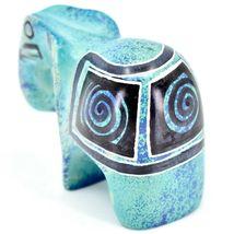 Crafts Caravan Hand Carved Aqua Blue Soapstone Elephant Figurine Made in Kenya image 3