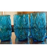 "(3) MCM ANCHOR HOCKING MADRID Glasses Tumblers 5"" Laser Blue TURQUOISE  - $29.06"