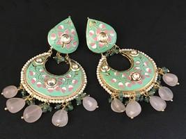 Indian Kundan Earrings Chandbali Jewellery Meenakari (hand-painted)-Mint... - $60.00