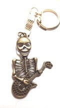 bronze skeleton playing guitar with chainmail keyring  bronze keychain keyring