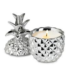 Silver Ceramic Pineapple Candle - $14.00