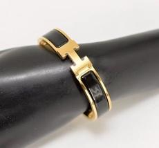 Authentic Hermes 2015 Black Enamel Gold H Clic-Clac Bracelet PM image 7