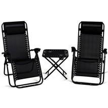 3 pcs Folding Portable Zero Gravity Reclining Lounge Chairs Table-Black - $118.96