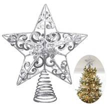 Christmas Tree Star Topper Silver Glittered Metal Hallow Tree Star Holid... - $15.15