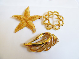 Lot of 3 vtg Piscitelli & Unbranded goldtone sea nautical star fish pin ... - $30.89