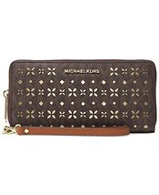 Michael Jet Set Travel Large Travel Continental Wallet Flora perforated ... - $165.62