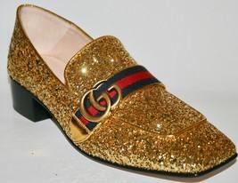 NIB Gucci Peyton Glitter GG Marmont Web Heels - $445.50