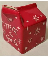 Christmas Milk For Santa Mug Farmhouse Red Ceramic Carton Snowflake Holi... - $14.83