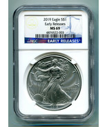 2019 AMERICAN SILVER EAGLE NGC MS69 CLASSIC EARLY RELEASES BLUE LABEL, A... - $31.95