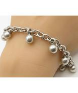 MEXICO 925 Sterling Silver - Vintage Ball & Chain Dangle Bracelet - B2729 - $93.93