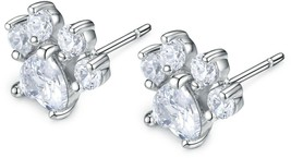 Viola Tricolor Cute Small Sparkling Paw Earring Silver Stud Earrings Cle... - $32.91